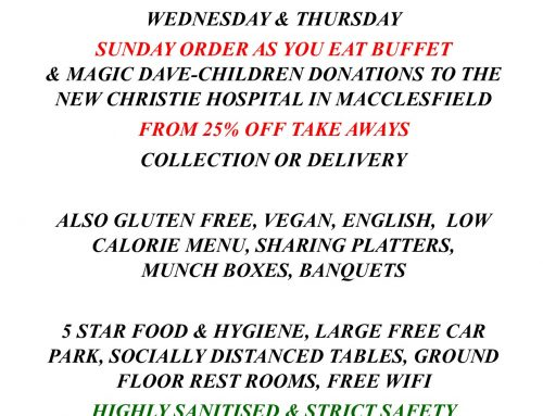 MID WEEK OFFERS, SUNDAY BUFFET & TAKE AWAY DISCOUNT